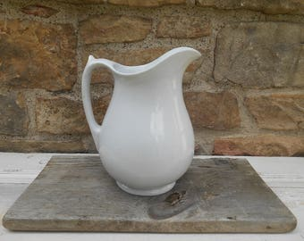 White Ironstone Milk Pitcher Vase English Imperial Ironstone China Hope and Carter Country Farmhouse Simple Shape Thumb Rest 1867-1880