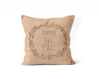 happy fall pillow cover, happy fall decor, tan pillow, porch pillow, front porch decor, autumn throw pillow, farmhouse fall decor