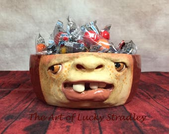 BOWL - medium ceramic,  wheel thrown, hand altered & sculpted. Just a friendly face to enjoy your favorite soup, ice cream or salad. CBM40