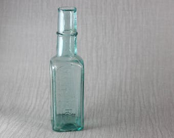 Small Vintage Bottle Fletcher's Grill Sauce Green Tinge Clear Glass