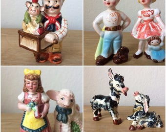 RESERVED FOR SILVIA: Four (4) Vintage Salt and Pepper Shakers, Individual Details Below. Donkeys, Kreiss Kids, Mary and Lamb, Organ Grinder