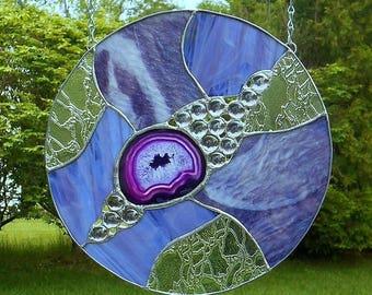 Round Purple Sun Catcher with Agate Slice