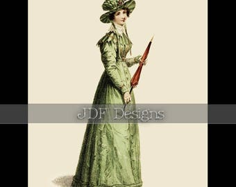 Instant Digital Download, Vintage Antique Graphic, Lady in Green, Fashion Plate, Irish Lass, Printable Image, Easter, St Patrick's Day