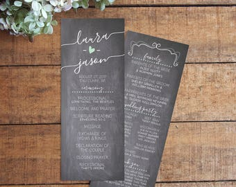 Wedding Program, Wedding Programs, Order of Service, Chalkboard Program, Chalkboard Wedding, Rustic Wedding, Printable Program
