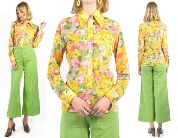 Vtg 70s Multicolor Sheer Floral Shirt M