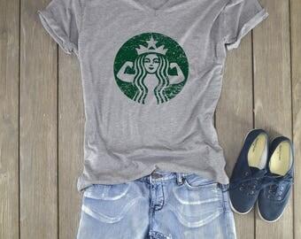 Starbucks Shirt   Starbucks Strong - Starbuff Shirt - Workout Shirt - Fitness Shirt - Deep Vneck