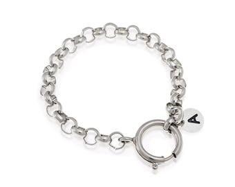 Custom Initial Bracelet, Personalized Name Bracelet, Engraved Bracelet, Unisex Chain Bracelet, Silver Chain Bracelet, For Men And Women's