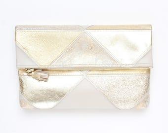 Large leather bag. Fold over clutch. Geometric purse. Statement bag.Metallic natural leather. Mixed texture bag. Gold handbag. /PRISM 35