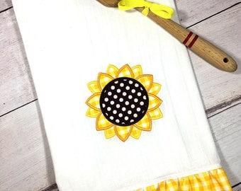 sunflower flour sack towel home decor modern farmhouse sunflower kitchen decor farmhouse