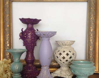 Mint/Purple/White Baroque Candle Holders, Set of 5 Pillar Holders, Cottage Chic French Inspired Table Top Candle Holder