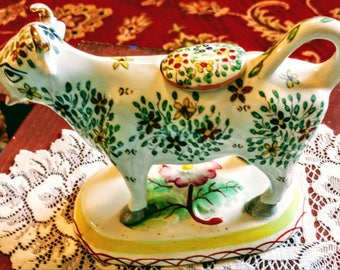 Staffordshire Whimsical Colorful Cow Creamer from Kent , England