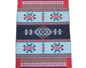 Reversible Kilim Rug - Small Turkish Kilim Rug or Mat in Blues, Red and Green - 127cm x 77cm