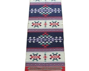 Long Kilim Runner - New Reversible Long Turkish Kilim Runner Rug in Blue, Red and Purple - 256cm