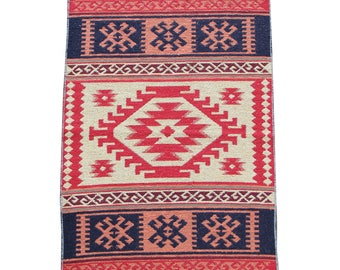 Small Kilim Rug - New Reversible Small Turkish Kilim Rug or Mat in Peach, Red and Blue - 96cm x 60cm