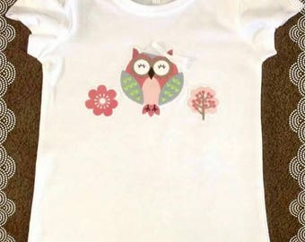 Girls cotton owl T-shirt with bow