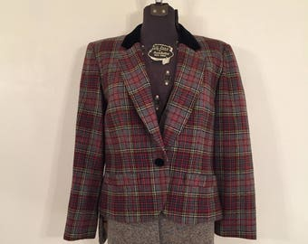 Vintage Pendleton Blazer with Velvet Collar / Medium