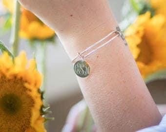 Monogram Charm Bangle Bracelet, Adjustable Bangle Bracelet Personalized, Monogrammed Bridesmaid Bracelet