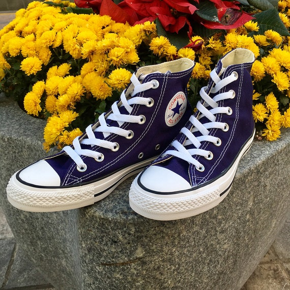 Blue Converse High Top Midnight Indigo Navy Ladies Mens Custom Bling w/ Swarovski Crystal Rhinestone Chuck Taylor Wedding Sneakers Shoes