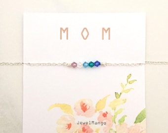 Family Birthstone necklace for Mom, Family birthstone, Holiday Gifts for mom, Swarovski Crystal, Christmas gifts mom, Gifts for her