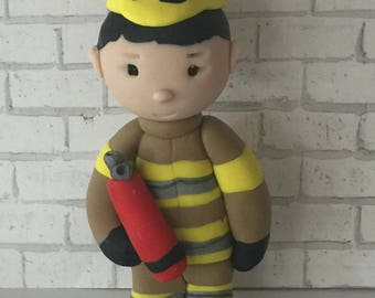 Polymer clay Firefighter  ornament,collectors item,handmade,Christmas gifts