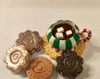 polymer clay cookies with hot chocolate, milk,resin drinks, 18 inch dolls