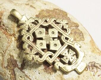 Ethiopian Cross Pendant made of Brass 79x48 mm  (AK217)