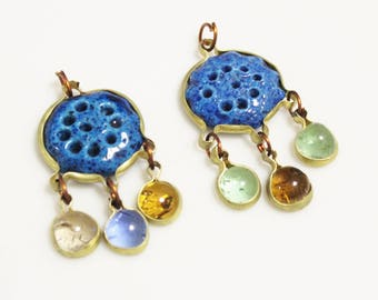Blue Ceramic Dangle Pendants from the Middle East , Unique Ethnic Pendants, Jewelry Making Supplies (AL262)