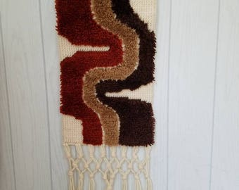 Vintage Hooked Rug Wall Hanging Modern Abstract with Macrame