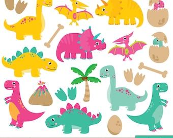 Bright Dinosaur Clipart, Cute Dinosaurs, Pterodactyl, Dino, Tyrannosaurus Rex, Stegosaurus, Triceratops, Egg - Commercial & Personal