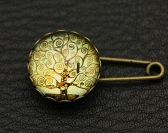 Brooch pin tree of life by Klimt