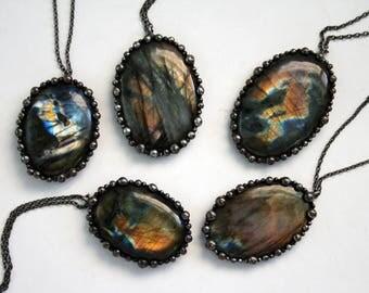 Rainbow Labradorite Round Necklace - Medium // Rainbow Labradorite Statement Necklace