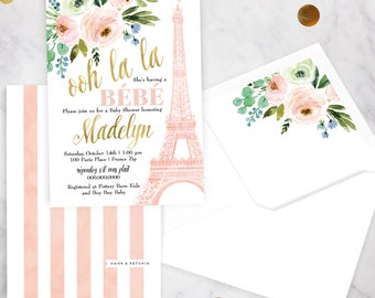 Paris Baby Shower Invitation, Eiffel Tower Baby Shower, Bebe Shower Invitation, Baby Girl Shower Invite, Lined Envelope