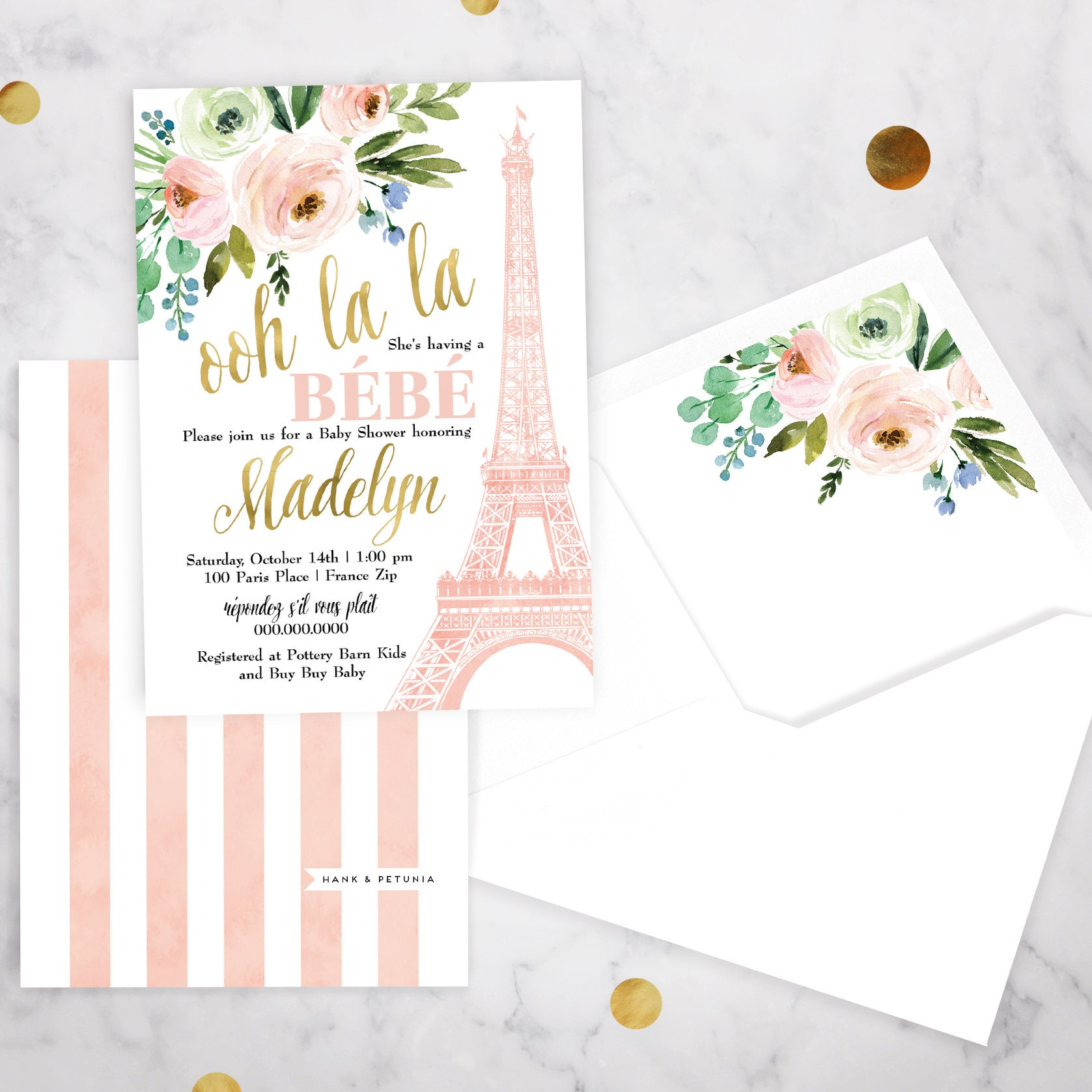 Paris Baby Shower Invitation, Eiffel Tower Baby Shower, Bebe ...