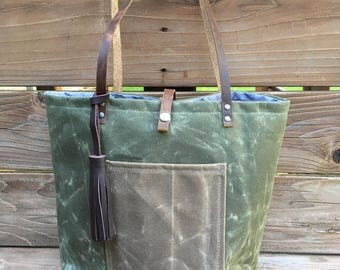 Waxed Canvas Purse - Lined with Pockets - Day Tote - Waxed Canvas Bag - Canvas Purse with Leather Straps - Waxed Canvas Tote