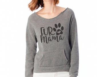 Cozy fall sweatshirt - Fur Mama - kangaroo pocket - raw edge boat neck - eco fleece - machine washable - Small-2XL available
