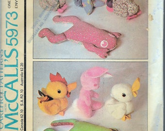 Vintage 1978 McCall's 5973 Set Of Animals In Two Sizes, Rabbit, Duck, Rooster, and Frog Sewing Pattern