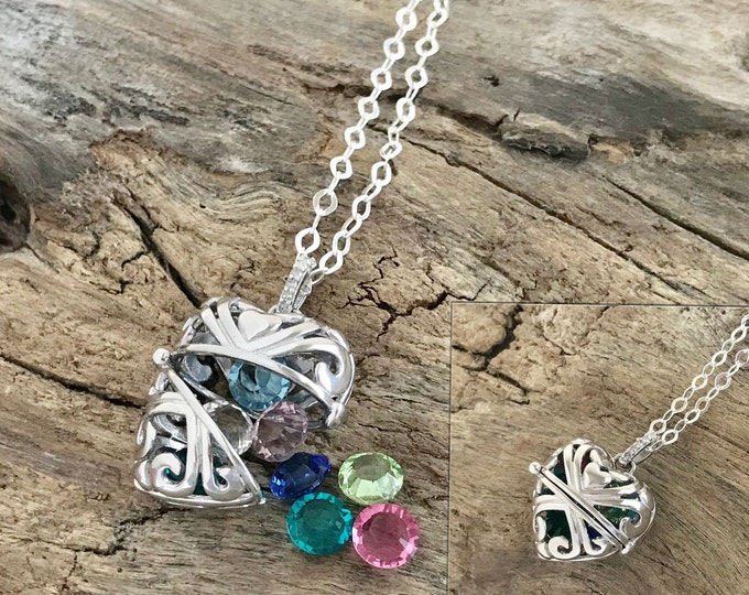 Personalized Sterling Silver Filigree Heart Birthstone Locket Necklace