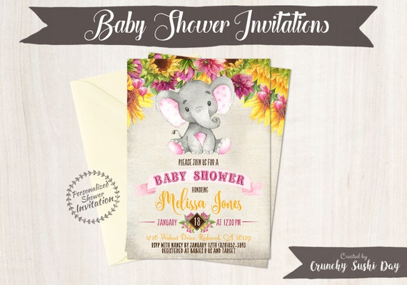 Sunflower Elephant Baby Shower Invitations, Printable Invitations, Fall Baby Shower, Elephant, Yellow, Floral, Sunflowers, Nursery, Pink 017