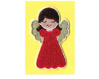 Angel In Red - Christmas - Embroidered Iron On Applique Patch
