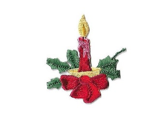 Christmas Candle - Holly - Embroidered Iron On Applique Patch