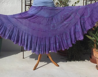 Hand dyed Purple, Lilac and Blue Flamenco Skirt