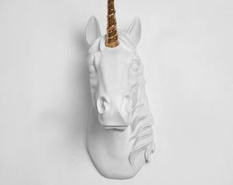 The Bayer Unicorn Head White W/ Gold Alicorn - Faux Taxidermy Unicorn Wall Mount - White Faux Taxidermy, Unicorn Wall Mount- Kids Room Decor