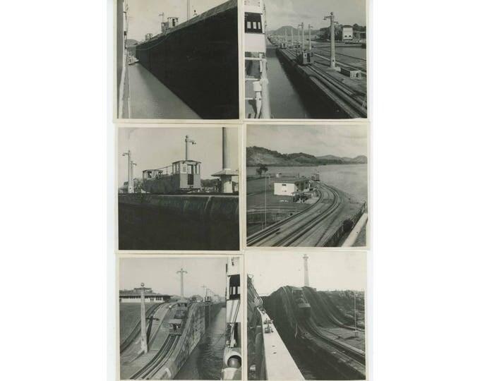 Set of 8: Panama Canal Locks & Trains c1940s-50s Vintage Snapshot Photos (78598)