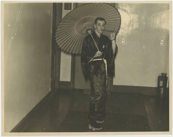 Male Geisha, Vintage Snapshot Photo, 8x10, c1940s (711618 O/S)