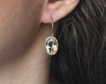 Rutilated Quartz Gold Earring