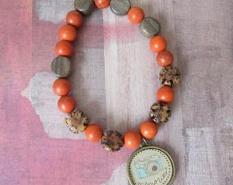 Photography, Camera Charm Beaded Bracelet, Orange Howlite & Wood Flower Beads