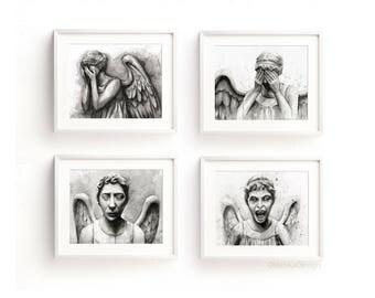 Weeping Angels Art Prints Weeping Angel Painting Doctor Who Fan Art Don't Blink Sci-Fi Geek Art Watercolor Weeping Angels - Set of 4 Prints