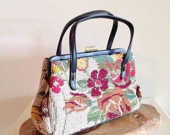 Vintage Mid Century Needlepoint Purse Handbag NEAR MINT