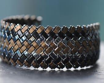 Gold, gunmetal, black, Herringbone stitch, Half Tila Bracelet, Miyuki beads, Handstitched cuff