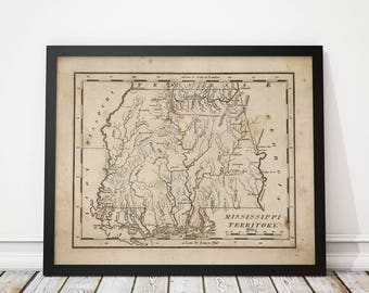 Old Alabama Mississippi Map Art Print 1816 Antique Archival Reproduction